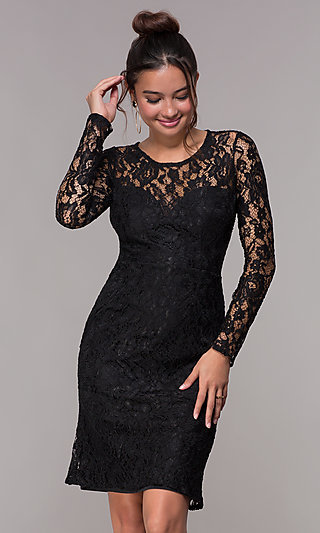 Short Lace Homecoming Party Dress with Long Sleeves