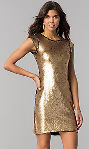 Image of black and gold sequin short homecoming party dress. Style: LP-24257 Detail Image 2