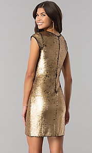 Image of black and gold sequin short homecoming party dress. Style: LP-24257 Back Image