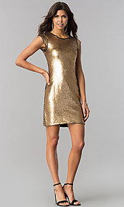 Image of black and gold sequin short homecoming party dress. Style: LP-24257 Detail Image 3