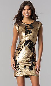 Image of black and gold sequin short homecoming party dress. Style: LP-24257 Front Image