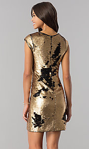 Image of black and gold sequin short homecoming party dress. Style: LP-24257 Detail Image 1
