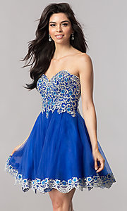 Image of royal blue strapless short homecoming party dress. Style: FB-GS2380 Front Image