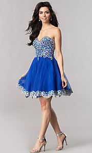 Image of royal blue strapless short homecoming party dress. Style: FB-GS2380 Detail Image 1