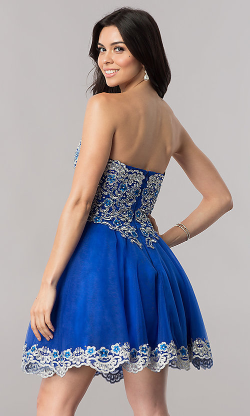 Image of royal blue strapless short homecoming party dress. Style: FB-GS2380 Back Image