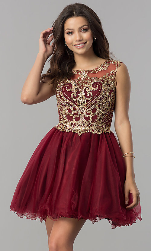 6006b47f4018c Image of short illusion homecoming dress with lace applique. Style:  FB-GS2381 Front