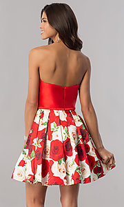 Image of floral-print skirt strapless short homecoming dress. Style: FB-GS2385 Back Image
