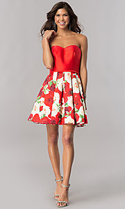 Image of floral-print skirt strapless short homecoming dress. Style: FB-GS2385 Detail Image 1