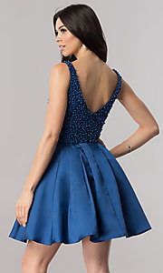 Image of short navy blue homecoming dress with beading.  Style: FB-GS2386 Back Image