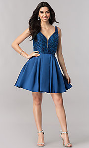 Image of short navy blue homecoming dress with beading.  Style: FB-GS2386 Detail Image 1