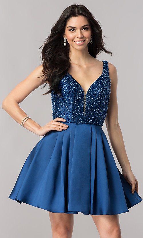Image of short navy blue homecoming dress with beading.  Style: FB-GS2386 Front Image