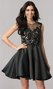 Image of short black satin wedding-guest dress with corset.  Style: FB-GS2388 Front Image
