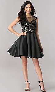 Image of short black satin wedding-guest dress with corset.  Style: FB-GS2388 Detail Image 1