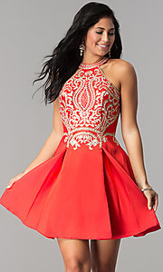 Image of short satin homecoming party dress with lace applique. Style: FB-GS2389 Detail Image 2