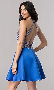 Image of short satin homecoming party dress with lace applique. Style: FB-GS2389 Back Image