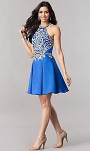 Image of short satin homecoming party dress with lace applique. Style: FB-GS2389 Detail Image 1