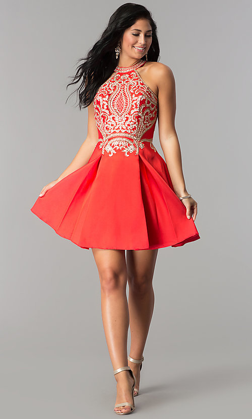 Image of short satin homecoming party dress with lace applique. Style: FB-GS2389 Detail Image 3
