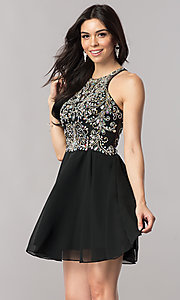Image of short homecoming dress with jewel-embellished bodice. Style: FB-GS2395 Front Image