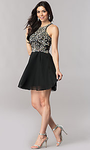 Image of short homecoming dress with jewel-embellished bodice. Style: FB-GS2395 Detail Image 1
