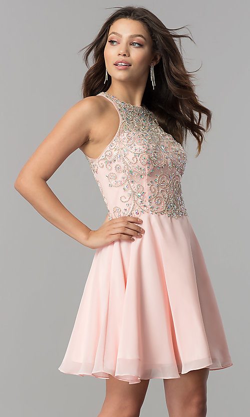 Image of short homecoming dress with jewel-embellished bodice. Style: FB-GS2395 Detail Image 2