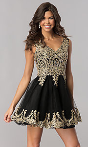 Image of tulle short homecoming dress with lace applique. Style: FB-GS2403 Front Image
