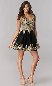 Image of tulle short homecoming dress with lace applique. Style: FB-GS2403 Detail Image 1