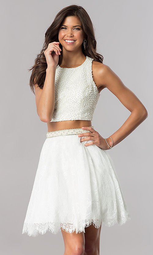 Image of two-piece short homecoming dress with beaded top. Style: FB-GS2404 Front Image