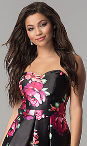 Image of floral-print short black strapless homecoming dress. Style: JOJ-JE-17540 Detail Image 1
