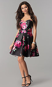 Image of floral-print short black strapless homecoming dress. Style: JOJ-JE-17540 Detail Image 2