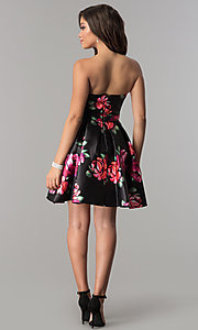 Image of floral-print short black strapless homecoming dress. Style: JOJ-JE-17540 Detail Image 3