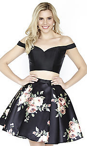 Image of two-piece short floral-print homecoming dress. Style: JOJ-JE-17549 Front Image