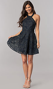Image of embroidered-mesh short mock-halter homecoming dress. Style: MCR-2433 Detail Image 3