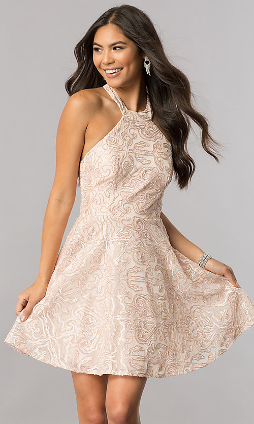 Image of embroidered-mesh short mock-halter homecoming dress. Style: MCR-2433 Front Image