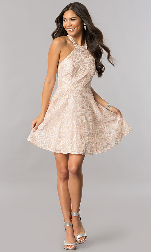Image of embroidered-mesh short mock-halter homecoming dress. Style: MCR-2433 Detail Image 1