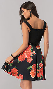 Image of floral-print short black homecoming party dress. Style: MCR-2431 Back Image