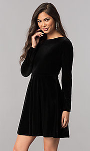 Image of short velvet homecoming dress with long sleeves.  Style: MCR-2429 Detail Image 2