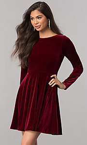 Image of short velvet homecoming dress with long sleeves.  Style: MCR-2429 Front Image