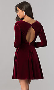 Image of short velvet homecoming dress with long sleeves.  Style: MCR-2429 Back Image