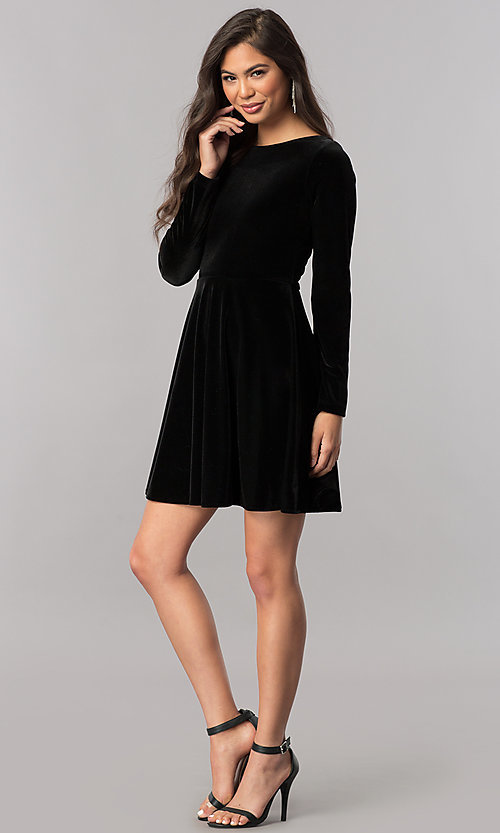 Image of short velvet homecoming dress with long sleeves.  Style: MCR-2429 Detail Image 3