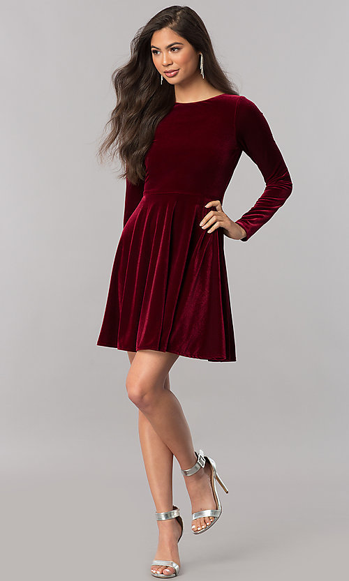 Image of short velvet homecoming dress with long sleeves.  Style: MCR-2429 Detail Image 1