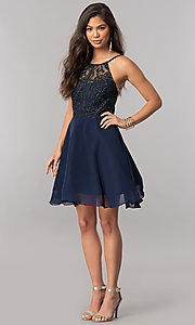 Image of short homecoming party dress with embroidered bodice. Style: MCR-2427 Detail Image 3