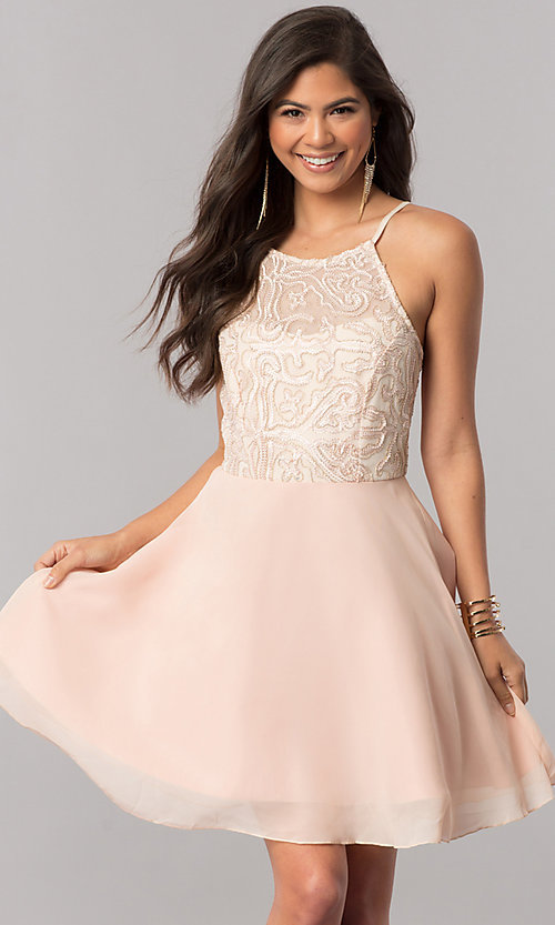 Image of short homecoming party dress with embroidered bodice. Style: MCR-2427 Front Image