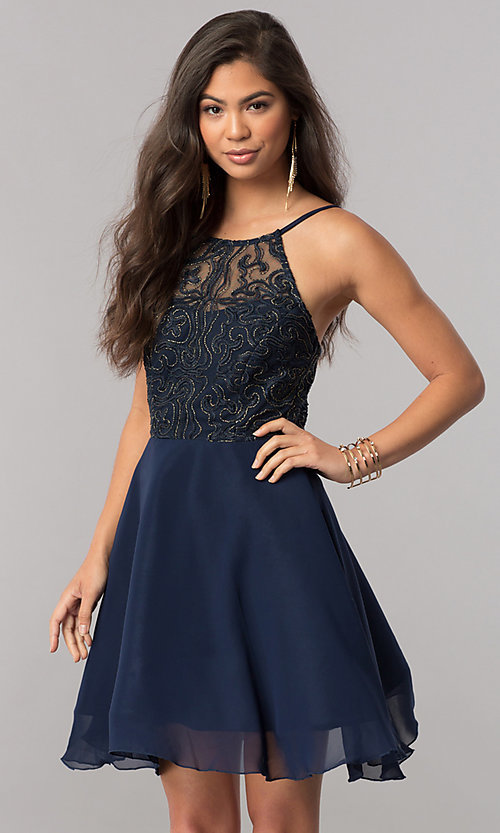 Image of short homecoming party dress with embroidered bodice. Style: MCR-2427 Detail Image 2