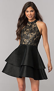 Image of tiered short homecoming dress with embroidered lace. Style: MCR-2426 Detail Image 1