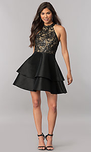 Image of tiered short homecoming dress with embroidered lace. Style: MCR-2426 Detail Image 2