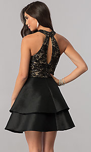 Image of tiered short homecoming dress with embroidered lace. Style: MCR-2426 Back Image