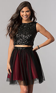 Image of sequin-top two-piece short homecoming party dress. Style: MCR-2424 Detail Image 1