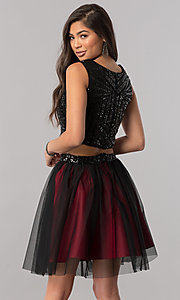 Image of sequin-top two-piece short homecoming party dress. Style: MCR-2424 Detail Image 2