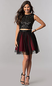 Image of sequin-top two-piece short homecoming party dress. Style: MCR-2424 Detail Image 3