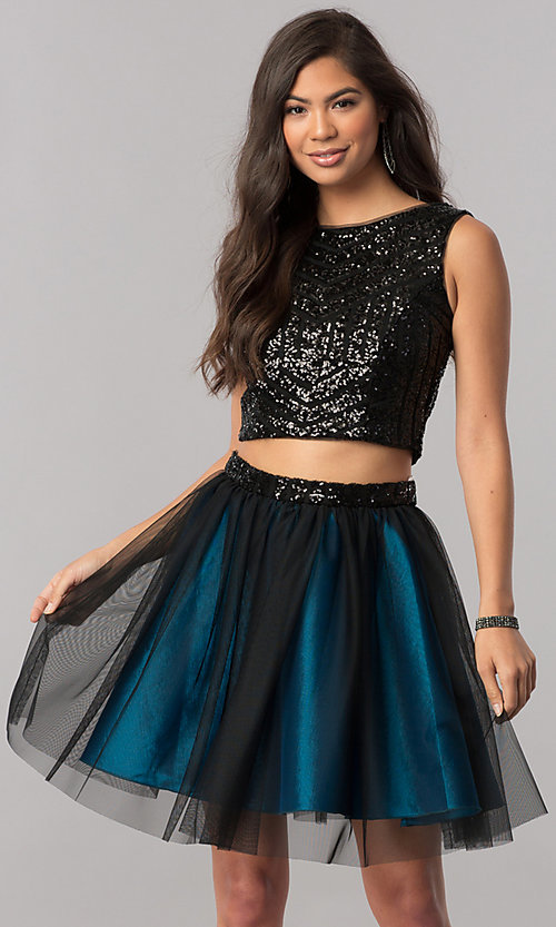 Image of sequin-top two-piece short homecoming party dress. Style: MCR-2424 Front Image